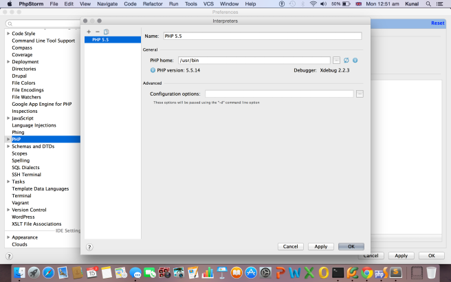 Setting up PHP interpreter
